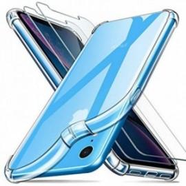 Coque pour iPhone XR Transparente + 2 x Verre trempé ,  iPhone XR Protection écran , Souple Silicone [Antichoc Bumper]