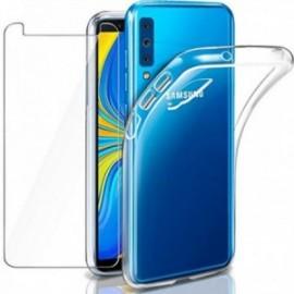 Coque pour Galaxy A7 2018 Transparente + Verre trempé ,  écran Protecteur,  Souple Silicone étui Protection Bumper  Doux  Gel