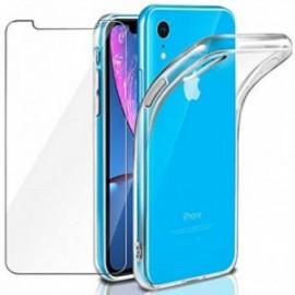 Coque pour iPhone XR Transparente + Verre trempé ,  écran Protecteur Souple Silicone étui Protection Bumper  Doux  Gel
