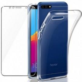 Coque pour Huawei Y6 2018 Transparente + Verre trempé ,  écran Protecteur, Souple Silicone étui Protection Bumper Doux Gel