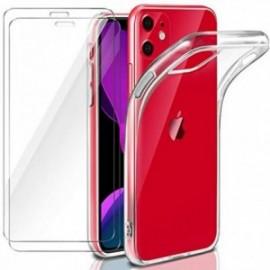 Coque pour iPhone 11 (6.1) Transparente + 2 x Verre trempé  étui Protecteur Bumper