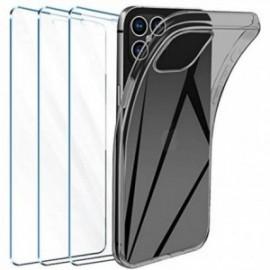 Coque pour iPhone 12 Transparente + 3 x Verre trempé  étui Protecteur Bumper   Gel