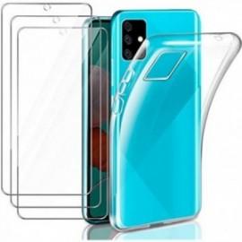 Coque pour Samsung Galaxy A51 (Pas 5G) Transparente + 3 x Verre trempé  étui Protecteur Bumper