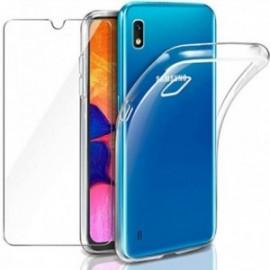 Coque pour Samsung Galaxy A10 Transparente + Verre trempé  étui Protecteur Bumper