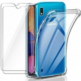 Coque pour Samsung Galaxy a10 Transparente + 2 x Verre trempé , Protection écran , Souple Silicone [Antichoc Bumper]