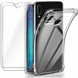 Coque pour Samsung Galaxy A20e Transparente + 2 x Verre trempé ,  A20e Protection écran , Souple Silicone [Antichoc Bumper]
