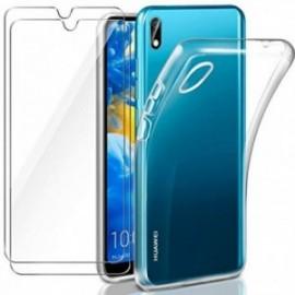 Coque pour Huawei Y5 2019 Transparente + 2 x Verre trempé  étui Protecteur Bumper