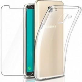 Coque pour Galaxy J6 2018 Transparente + Verre trempé ,  écran Protecteur, Souple Silicone étui Protection Bumper  Doux  Gel