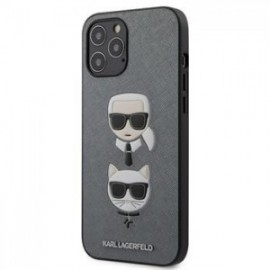 Coque Karl Lagerfeld Saffiano K&C Heads pour iPhone 12 Pro Max argent