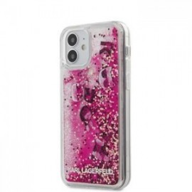 Coque Karl Lagerfeld Liquid Paillette Charms pour iPhone 12 mini rose