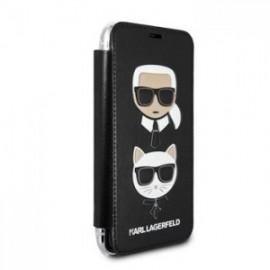Etui folio Karl Lagerfeld Heads pour iPhone 12 /12 Pro 6,1'' noir