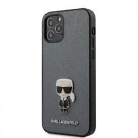 Coque Karl Lagerfeld Saffiano Iconic pour iPhone 12 /12 Pro 6,1'' argent