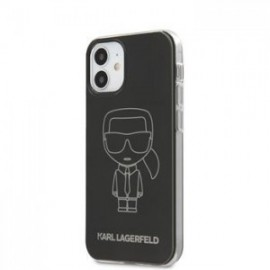 Coque Karl Lagerfeld PC/TPU Metallic Iconic Outline pour iPhone 12 mini 5,45'' noir