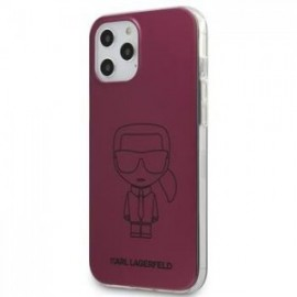 Coque Karl Lagerfeld PC/TPU Metallic Iconic Outline pour iPhone 12 /12 Pro 6,1'' rose