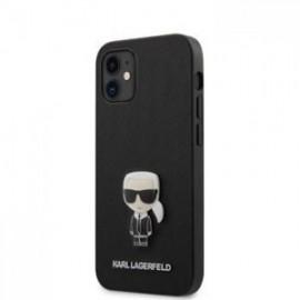 Coque Karl Lagerfeld Saffiano Iconic pour iPhone 12 mini 5,45'' noir