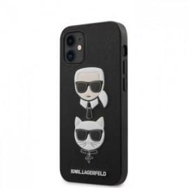 Coque Karl Lagerfeld Saffiano K&C Heads pour iPhone 12 mini 5,45'' noir
