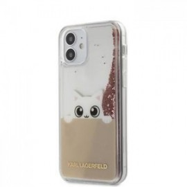 Coque Karl Lagerfeld Liquid Glitter Peek a Boo pour iPhone 12 mini 5,45'' rose