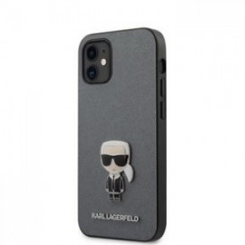 Coque Karl Lagerfeld Saffiano Iconic pour iPhone 12 mini 5,45'' argent