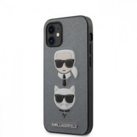Coque Karl Lagerfeld Saffiano K&C Heads pour iPhone 12 mini 5,45'' argent