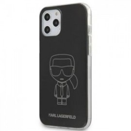 Coque Karl Lagerfeld PC/TPU Metallic Iconic Outline pour iPhone 12 /12 Pro 6,1'' noir