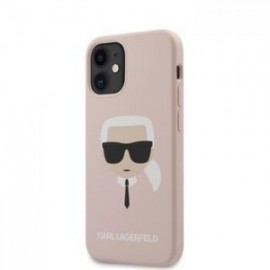 Coque Karl Lagerfeld Head Silicone pour iPhone 12  / 12 Pro rose clair