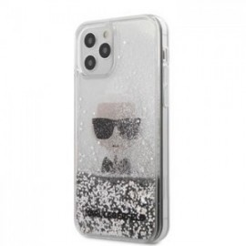 Coque Karl Lagerfeld Liquid Glitter Iconic pour iPhone 12 Pro Max argent