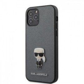 Coque Karl Lagerfeld Saffiano Iconic pour iPhone 12 Pro Max argent