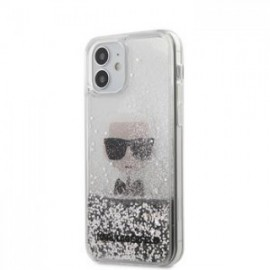Coque Karl Lagerfeld Liquid Glitter Iconic pour iPhone 12 mini 5,45'' argent