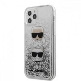 Coque Karl Lagerfeld Liquid Glitter 2 Heads pour iPhone 12 /12 Pro 6,1'' argent