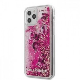 Coque Karl Lagerfeld Liquid Glitter Charms pour iPhone 12 /12 Pro 6,1'' rose