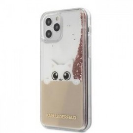 Coque Karl Lagerfeld Liquid Glitter Peek a Boo pour iPhone 12 /12 Pro 6,1'' rose
