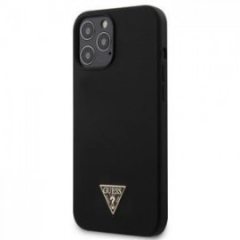 Coque Guess Silicone Metal Triangle pour iPhone 12 Pro Max noir