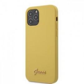 Coque Guess Silicone Metal Logo Script pour iPhone 12 Pro Max jaune