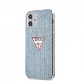 Coque Guess PC/TPU Denim Triangle pour iPhone 12 mini Light Bleu
