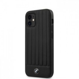 Coque BMW Leather Hot Stamp Vertical Lines pour iPhone 12 mini 5,45'' noir