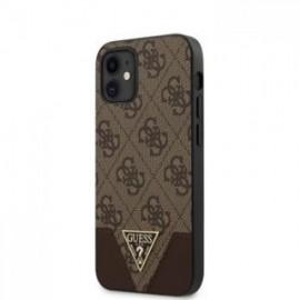 Coque Guess 4G Triangle pour iPhone 12 mini marron