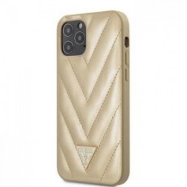 Coque Guess V Quilted pour iPhone 12 /12 Pro 6,1'' or
