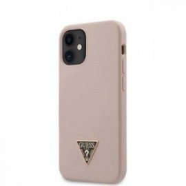 Coque Guess Silicone Metal Triangle pour iPhone 12 mini Light rose