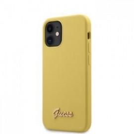 Coque Guess Silicone Metal Logo Script pour iPhone 12 mini jaune