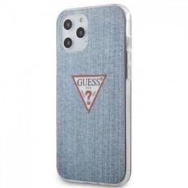 Cque Guess PC/TPU Denim Triangle pour iPhone 12 Pro Max Light Bleu