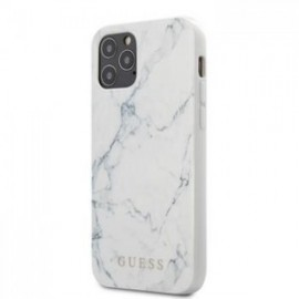 Coque Guess PC/TPU Marble pour iPhone 12 mini 5,45'' blanc