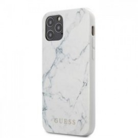 Coque Guess PC/TPU Marble pour iPhone 12 /12 Pro 6,1'' blanc