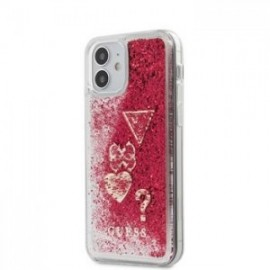 Coque Guess Liquid Glitter Charms pour iPhone 12 mini framboise