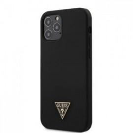Coque Guess Silicone Metal Triangle pour iPhone 12 /12 Pro 6,1'' noir