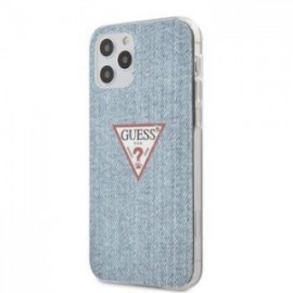 Coque Guess PC/TPU Denim Triangle pour iPhone 12 /12 Pro 6,1'' Light Bleu