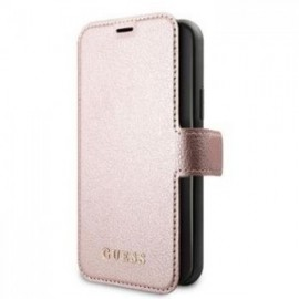 Etui folio Guess Iridescent pour iPhone 12 /12 Pro 6,1'' rose