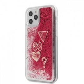 Coque Guess Liquid Glitter Charms pour iPhone 12 /12 Pro 6,1'' framboise