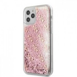 Coque Guess 4G Liquid Glitter pour iPhone 12 Pro Max rose