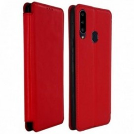 Housse pour Samsung A20S stand folio rouge