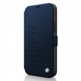 BMW – Etui folio bleu nuit pour Iphone 12 Mini logo embossed